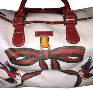 Gucci Boston Gg Supreme Joy Satchel in Cream & Red