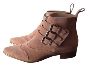 Tabitha Simmons Suede Buckle Tan nude Boots