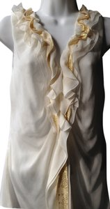 Elie Tahari Silk Gold Banding Ruffles Sleeveless Cream Ivory White Gold Top creme