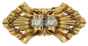 Other French Mid Century Gold and Diamond Clips
