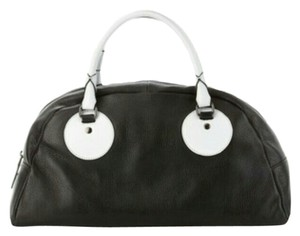Charles Jourdan Fashionable Organized All Seasons Functional Satchel in Black and white