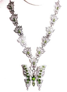 Gorgeous Green Peridot, White AAA CZ 925 Sterling Silver Butterfly Necklace