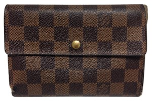 Louis Vuitton Louis Vuitton #4479 Damier Ebene Long Flap Tri Fold Trifold Wallet Compact wallet