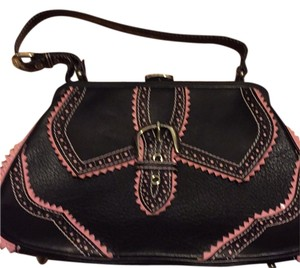 Isabella Fiore Satchel in Black/pink