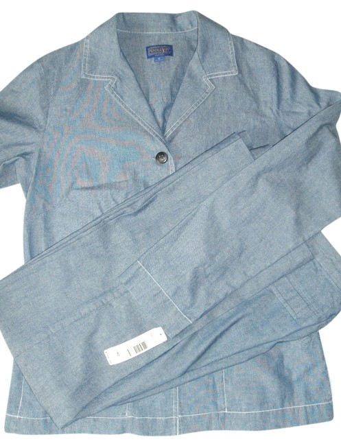 Pendleton Blue Women's Woolen Mills Cotton Pant~6 Suit~m Set Msrp New Pant Suit Size 8 (M) Pendleton Blue Women's Woolen Mills Cotton Pant~6 Suit~m Set Msrp New Pant Suit Size 8 (M) Image 1