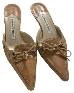 Manolo Blahnik Tan Leather Mules