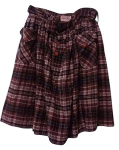 Bettie Page Circle Plaid Plus Size Retro Vintage Skirt Brown plaid