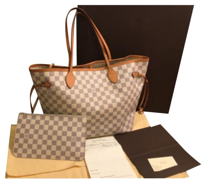 Item - Neverfull Damier Azur White Canvas Beach Bag