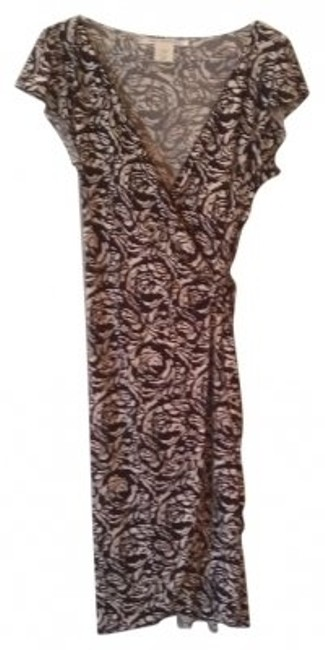Item - Brown and Cream Style # 5m12s52 Knee Length Work/Office Dress Size 8 (M)