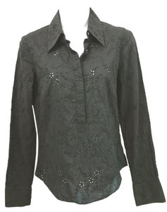 Elie Tahari Eyelet Cotton Blouse Petite Button Down Shirt BLACK