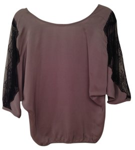 Lace Silk Top gray/black