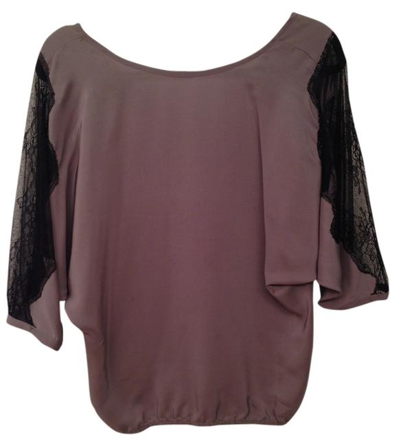 Other Lace Silk Top gray/black
