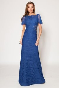 Teri Jon Royal Royal Blue Tulle Ruched Gown Dress Dress
