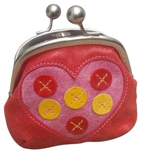 Fossil Mini Coin Leather Embroidered Leather Vintage Leather Heart red Clutch