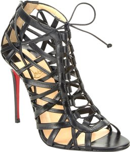 Christian Louboutin Laurence Anyway Ankle Caged Open Toe Cutout Kidskin Louboutin Celebrity Sexy 38 8 Black Boots