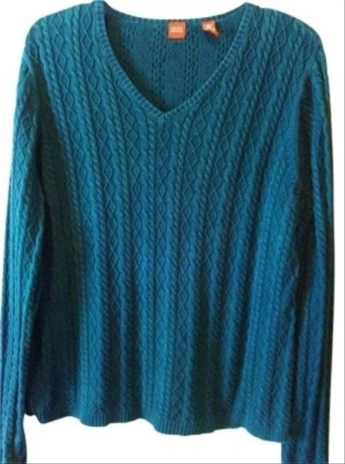 Valerie Stevens Blue Aqua Green Sea Marine Cable Knit Cable Knit Cotton Thick Classic Preppy Casual Career Warm Boho Bohemian Free V Sweater