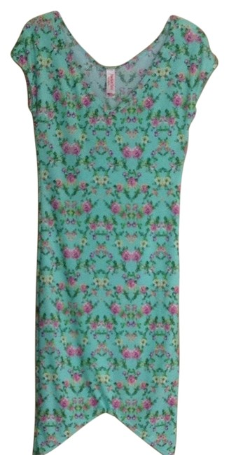 Item - Mint Green/ Floral Pink Flowers Short Casual Dress Size 8 (M)