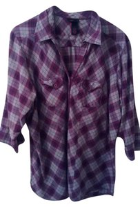 Torrid 2x Plus Size Rockabilly Button Down Shirt Purple plaid
