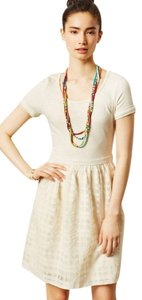Anthropologie short dress Grey and cream Lace T-shirt Windowpane on Tradesy