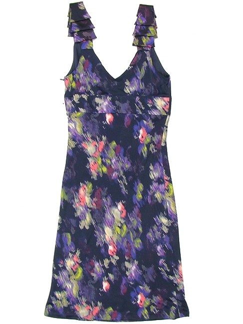Versani Floral Jersey Shift Evening Party Formal Bodycon V-neck Empire Waist Dress