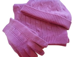 Ann Taylor Pink Cashmere Scarf, Hat and Glove Set
