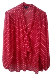 Lily White Bow Retro Top Red and White Polka Dot