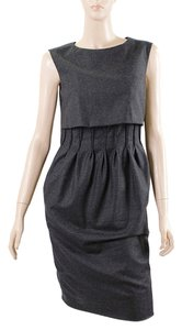 Yves Saint Laurent Cashmere Wool Shift Shift Evening Pleated Sheath Dress