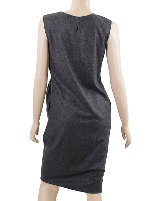 Saint Laurent Cashmere Wool Shift Shift Evening Pleated Sheath Dress