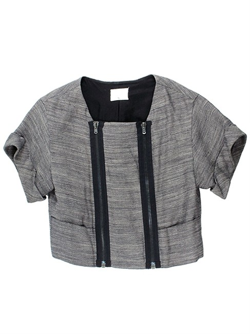 3.1 Phillip Lim Linen Knit Pleated Grey Jacket
