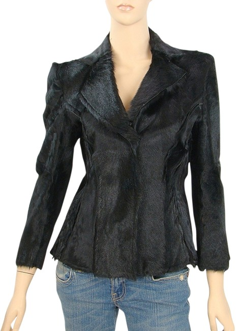 Alberta Ferretti Fur Crop Top Structured Black Blazer