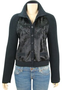 Alberta Ferretti Fur Knit Wool Black Jacket