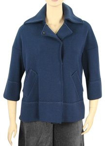 Alberta Ferretti Knit Cotton Spring Fall Navy Jacket