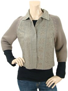 Alberta Ferretti Wool Cropped Embroidered Silk Grey, Taupe, Stone Jacket