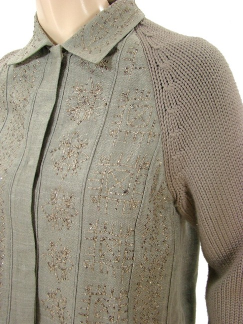 Alberta Ferretti Wool Cropped Embroidered Silk Beaded Sequin A-line Grey, Taupe, Stone Jacket