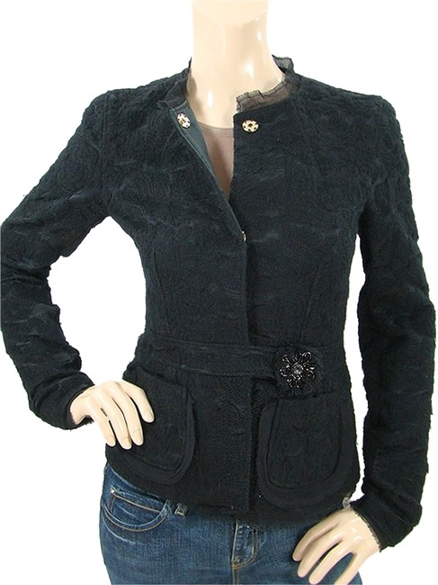 Alessandro Dell'Acqua Embroidered Beaded Applique Silk Wool Cotton Evening Party Black Jacket Image 0