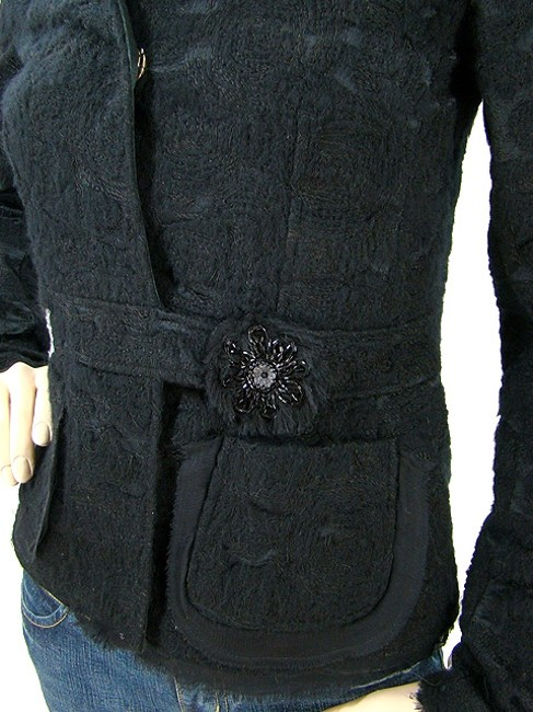 Alessandro Dell'Acqua Embroidered Beaded Applique Silk Wool Cotton Evening Party Black Jacket Image 1