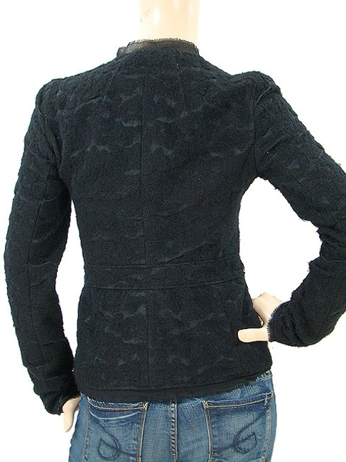 Alessandro Dell'Acqua Embroidered Beaded Applique Silk Wool Cotton Evening Party Black Jacket Image 3