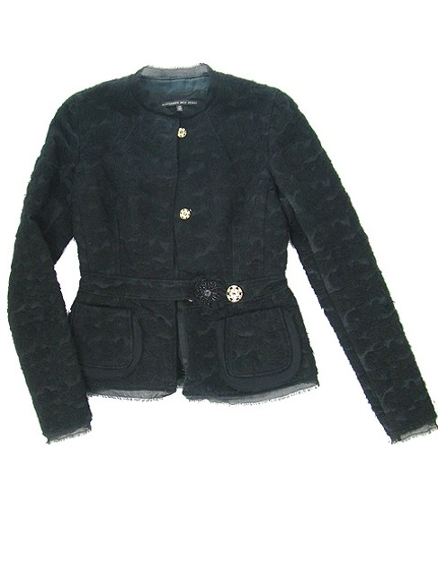 Alessandro Dell'Acqua Embroidered Beaded Applique Silk Wool Cotton Evening Party Black Jacket Image 4