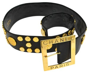 Chanel Auth CHANEL Gold Medal Studded Ladies Belt Black Leather Vintage GHW LP14140
