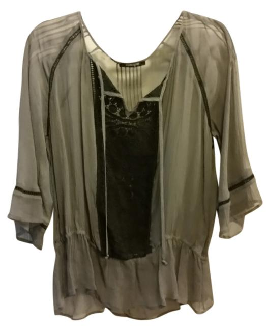Item - Black Grey Embroidered Top Holiday Blouse Size 8 (M)