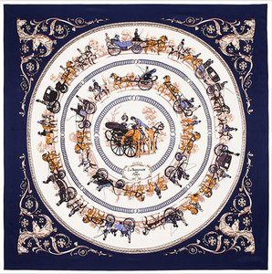 Women's Extra Large Square Silk Twill Scarf - Navy Blue Horse Carriage Equestrian in Circles 40