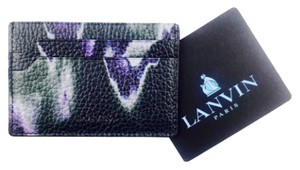 Lanvin Lanvin Black And Purple Print Leather Credit Card Holder Wallet New