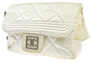 Chanel Auth CHANEL Snow Line Quilted CC Chain Bum Bag White Nylon Vintage Italy LP11175