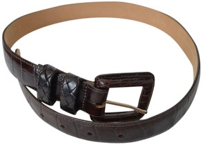 Brighton BRIGHTON | NEW Leather Reptile Brown Belt Contrast Buckle Classic Career M/30