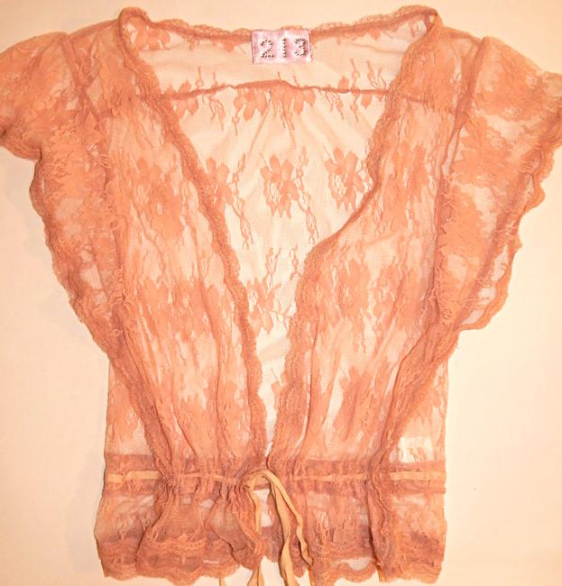 213 Industry Lace Sheer Short Sleeve Top pink