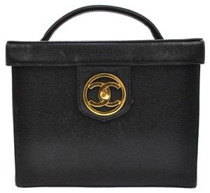 Chanel Auth CHANEL CC Cosmetic Hand Bag Black Caviar Skin Leather Vintage Italy LP12734