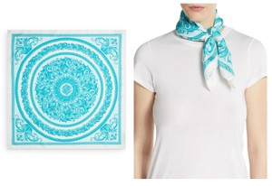 Versace Versace Floral 100% Silk Twill in Tiffany Blue Baroque Scarf