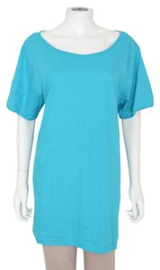 Silhouettes Basic Pajama Cotton Yoga Maternity Workout Gym T Shirt Teal Blue