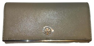 Tory Burch Tory Burch Robinson Patent Envelope Flap Continental French Gray Saffiano Leather New With Tag Wallet