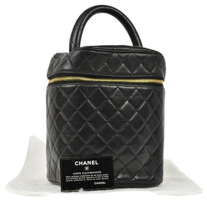 Chanel Auth CHANEL Quilted CC Cosmetic Hand Bag Black Leather Vintage France LP09950